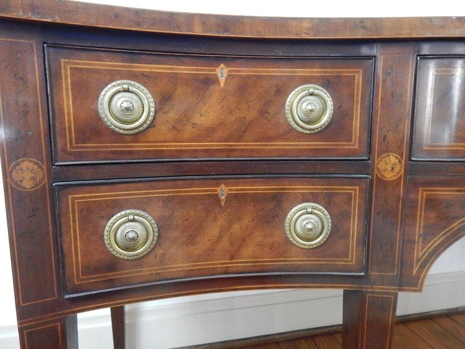 vintage baker federal style inlaid sideboard buffet ebth. Black Bedroom Furniture Sets. Home Design Ideas