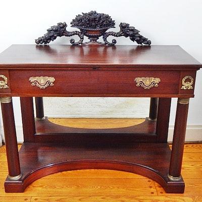 Antique French Empire Mahogany Console With Bronze Trim - Online Furniture Auctions Vintage Furniture Auction Antique