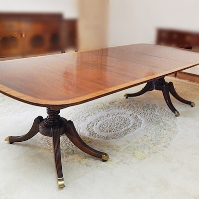 Vintage Baker Twin Pedestal Mahogany and Satinwood Dining Table - Online Furniture Auctions Vintage Furniture Auction Antique