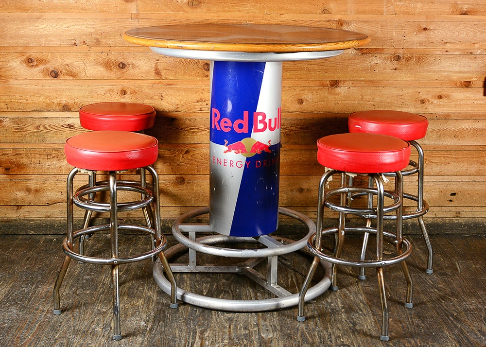 Round Red Bull Bar Table And Stools Ebth