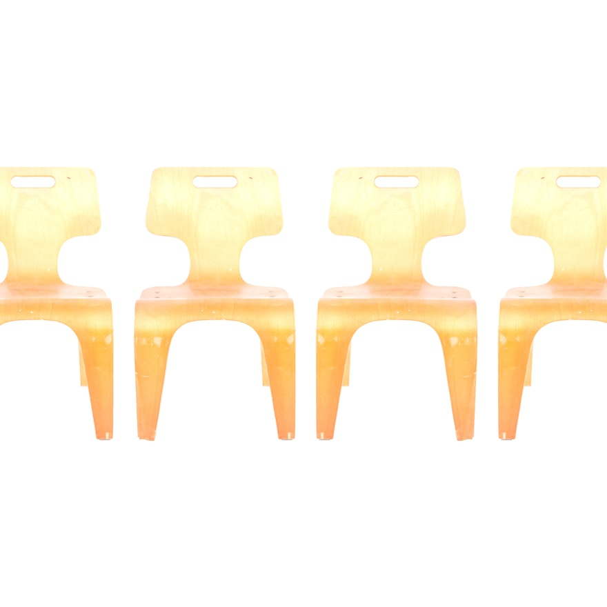 set of four toy labs childrens molded plywood stacking chairs ebth
