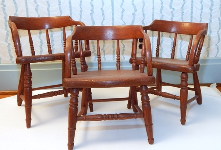 Antique Trio Of Barrel Back Toddlers Chairs