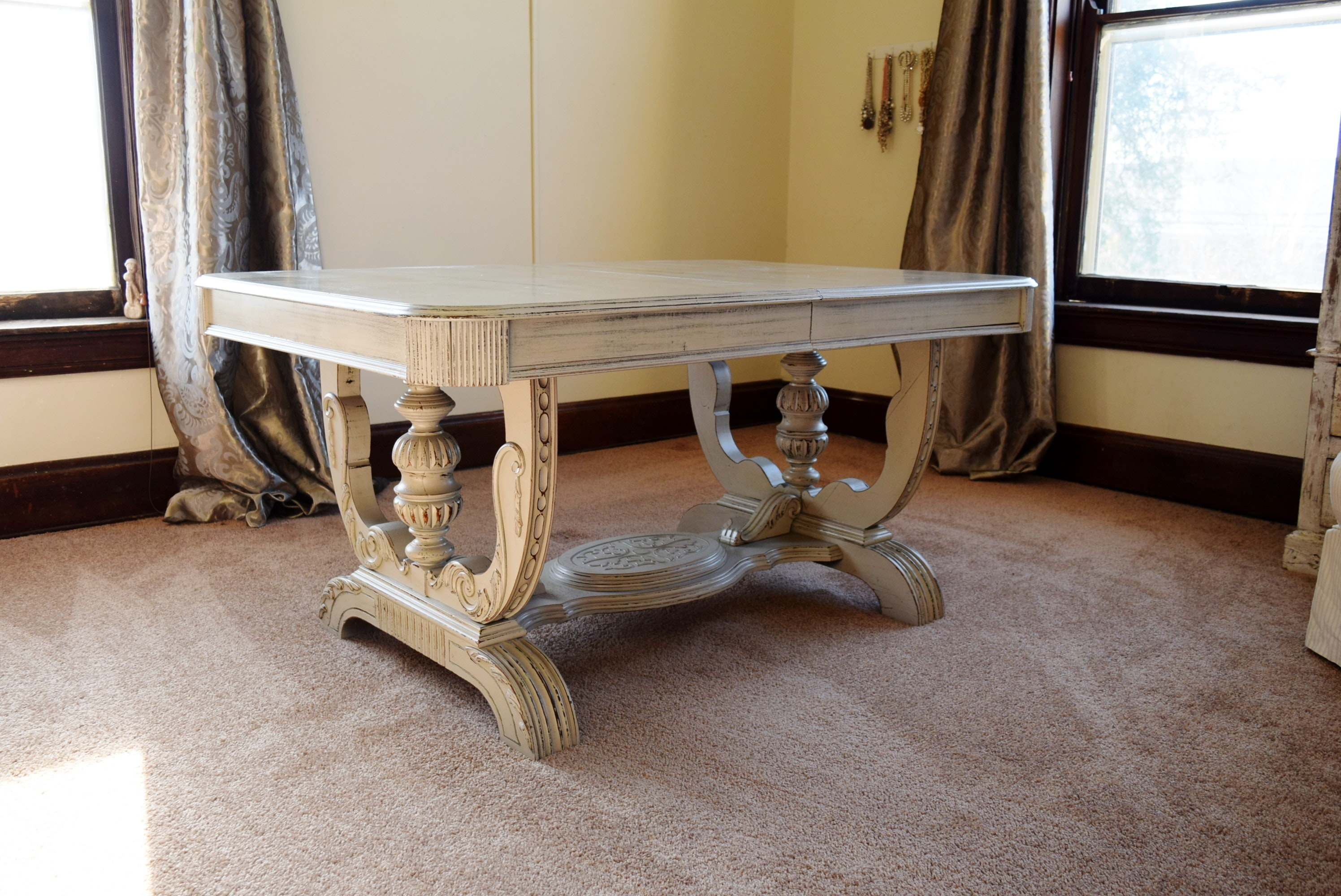 Painted Antique Jacobian Table With Pullout Leaf