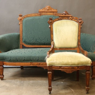 Antique American Victorian Eastlake Style Settee and Chair - Vintage Chairs, Antique Chairs And Retro Chairs Auction In Lexington