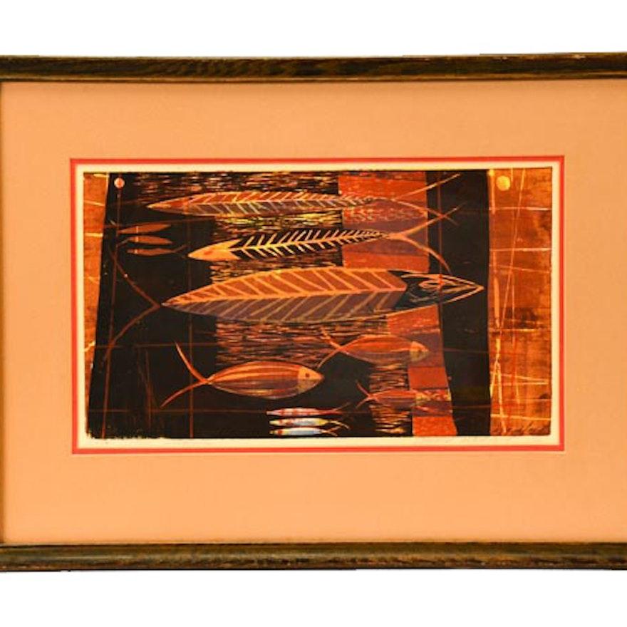 "Vintage Howard Bradford Serigraph ""Fish Decoration"""
