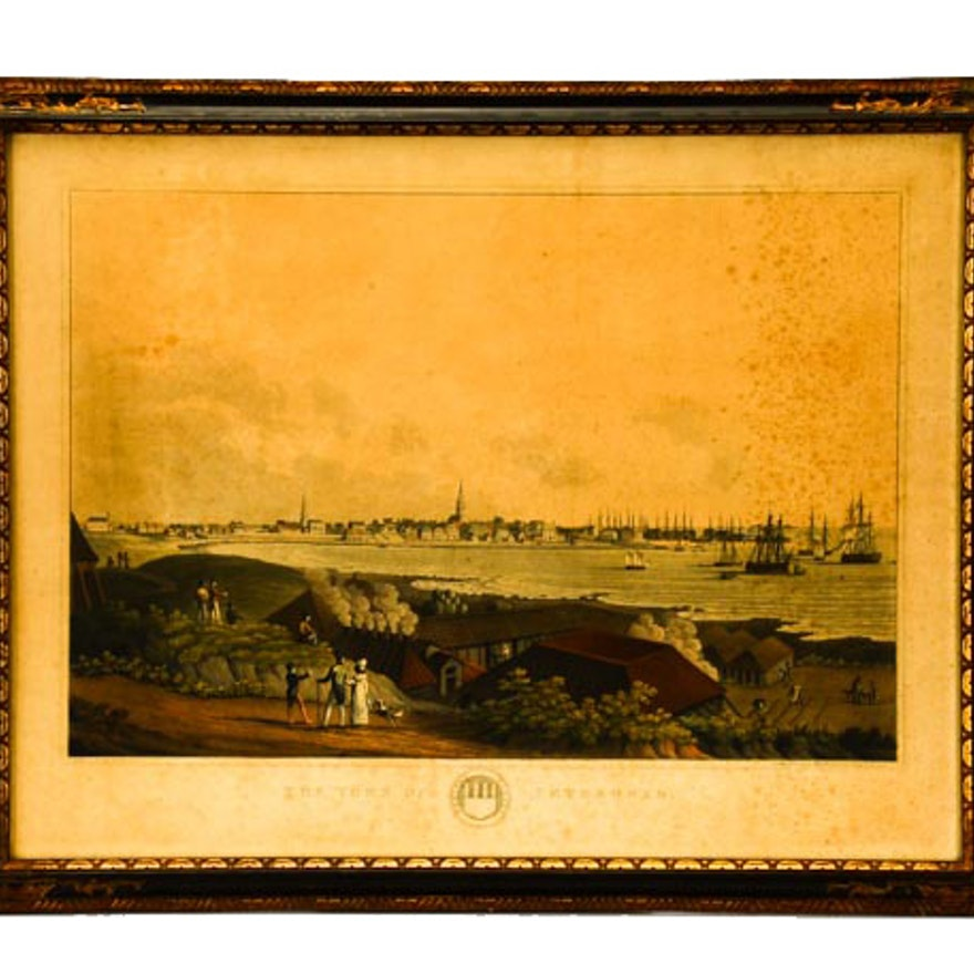 """1824 Hand-Colored Aquatint Etching """"The Town of Peterhead"""""""