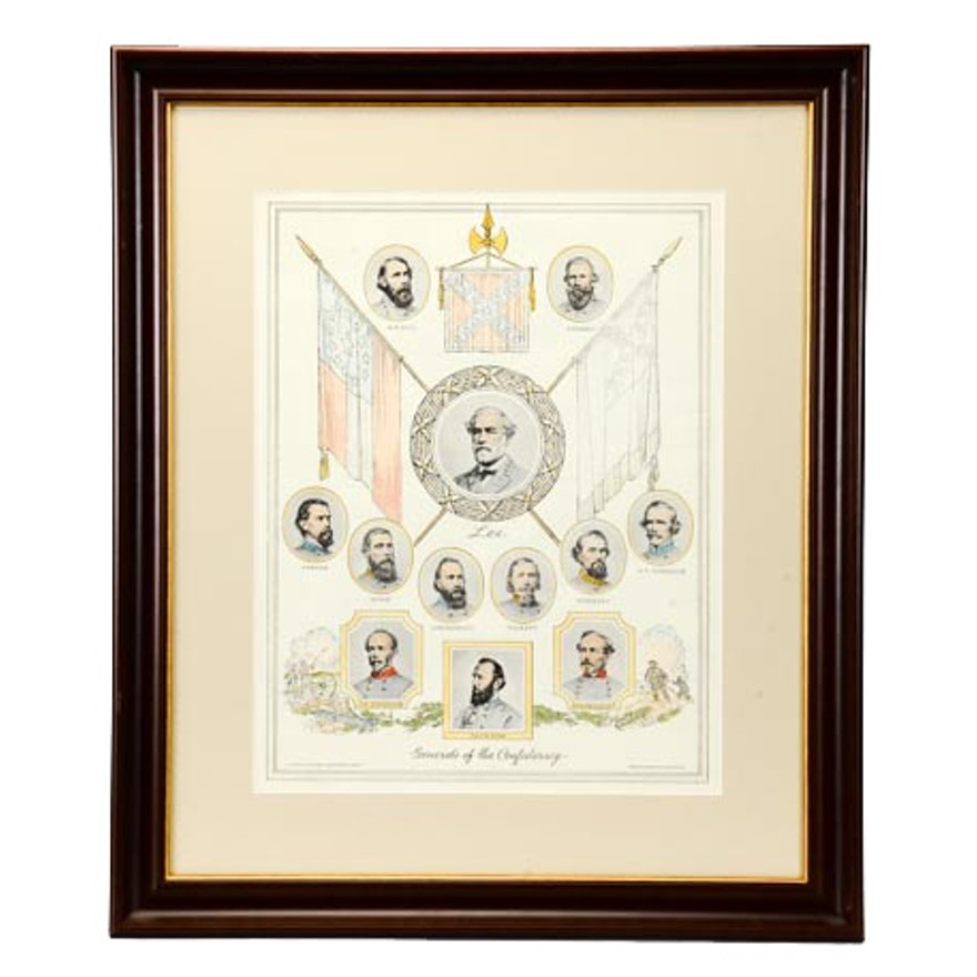 """""""Generals of the Confederacy"""" Print with Hand-Colored Deatils"""