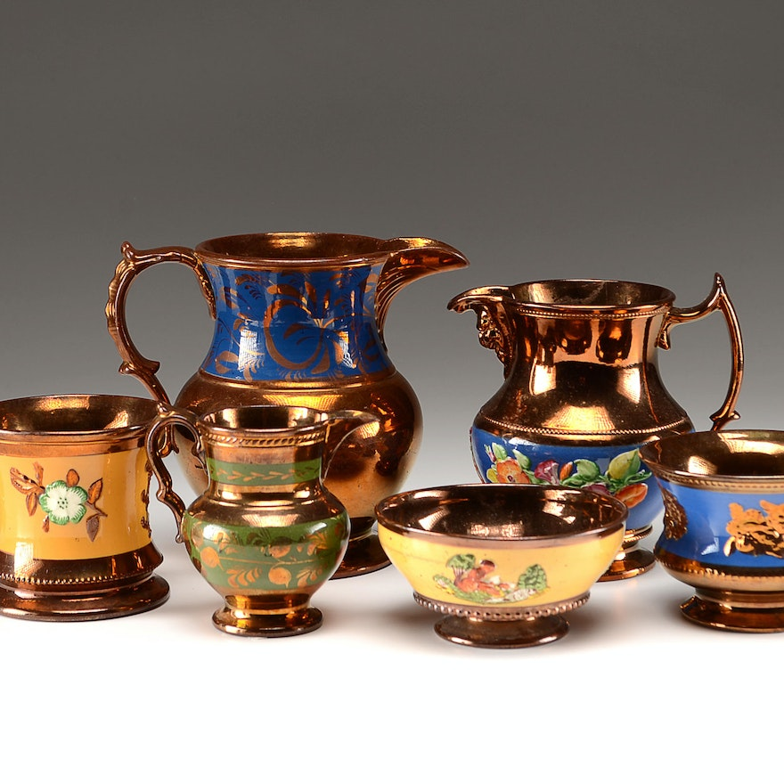 19th Century Copper Lusterware Pitchers, Cup and Bowls
