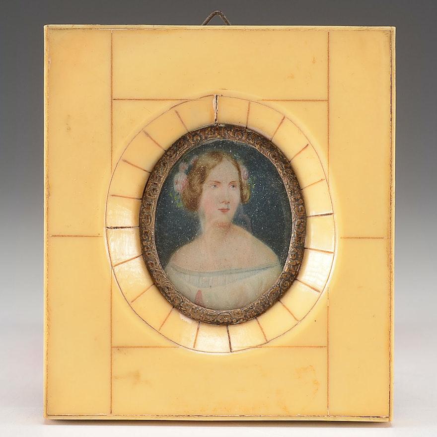 20th Century Hand Painted Portrait Miniature on Ivory