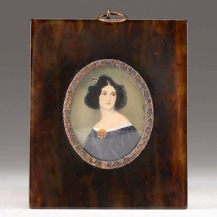 20th Century Hand Painted Ivory Portrait Miniature, Lucite Frame