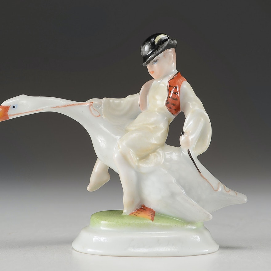 Herend Hungary Porcelain Boy on Goose Figurine