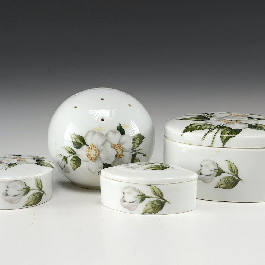 Porcelaine de Paris Trinket Boxes and Sachet