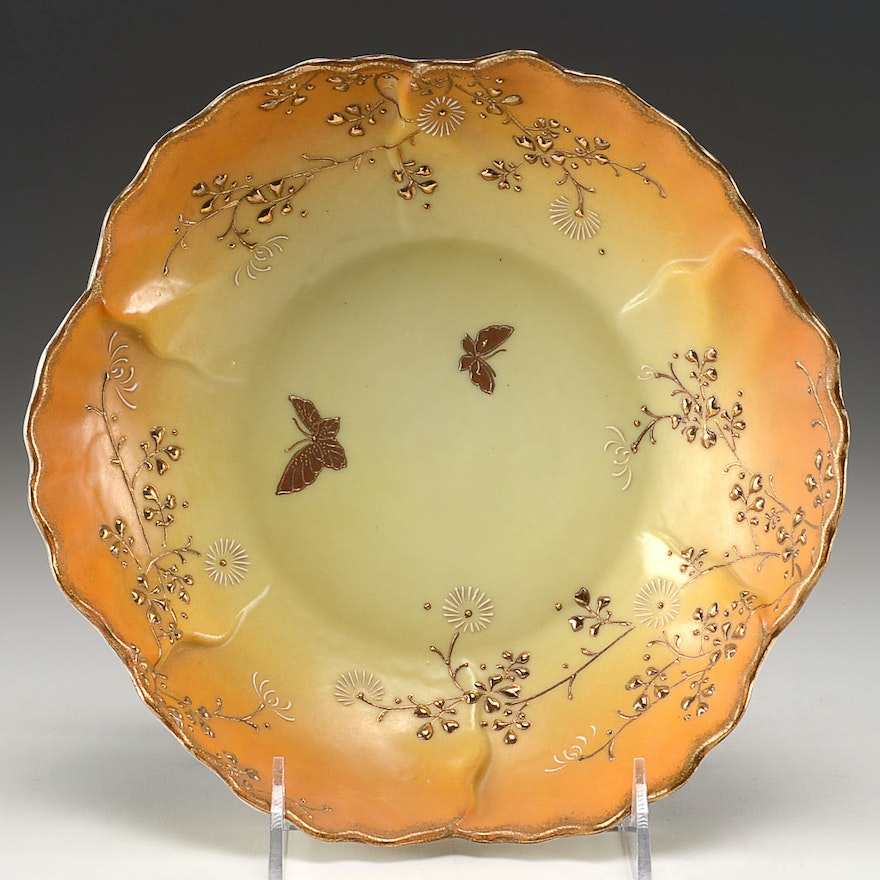 Hand Painted Nippon Moriage Enameled Bowl