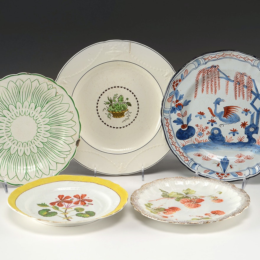 Set of Vintage China Plates by Famous Makers