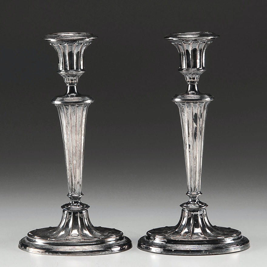 Pair of Silver Plate Candle Holders