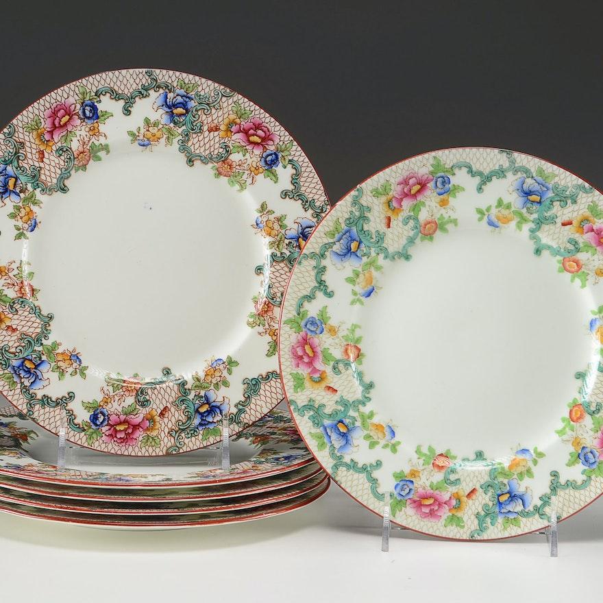 "Six ""Floradora"" Royal Cauldon Luncheon Plates"