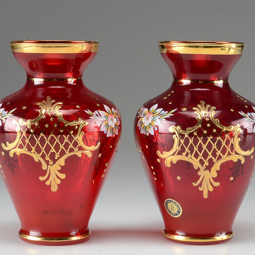 Pair Of Ruby Red Venetian Glass Vases Ebth