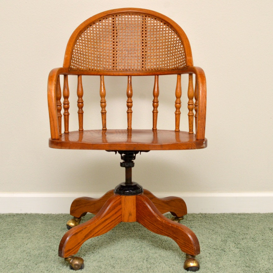 Solid Oak Swivel Desk Chair With Cane Back Ebth