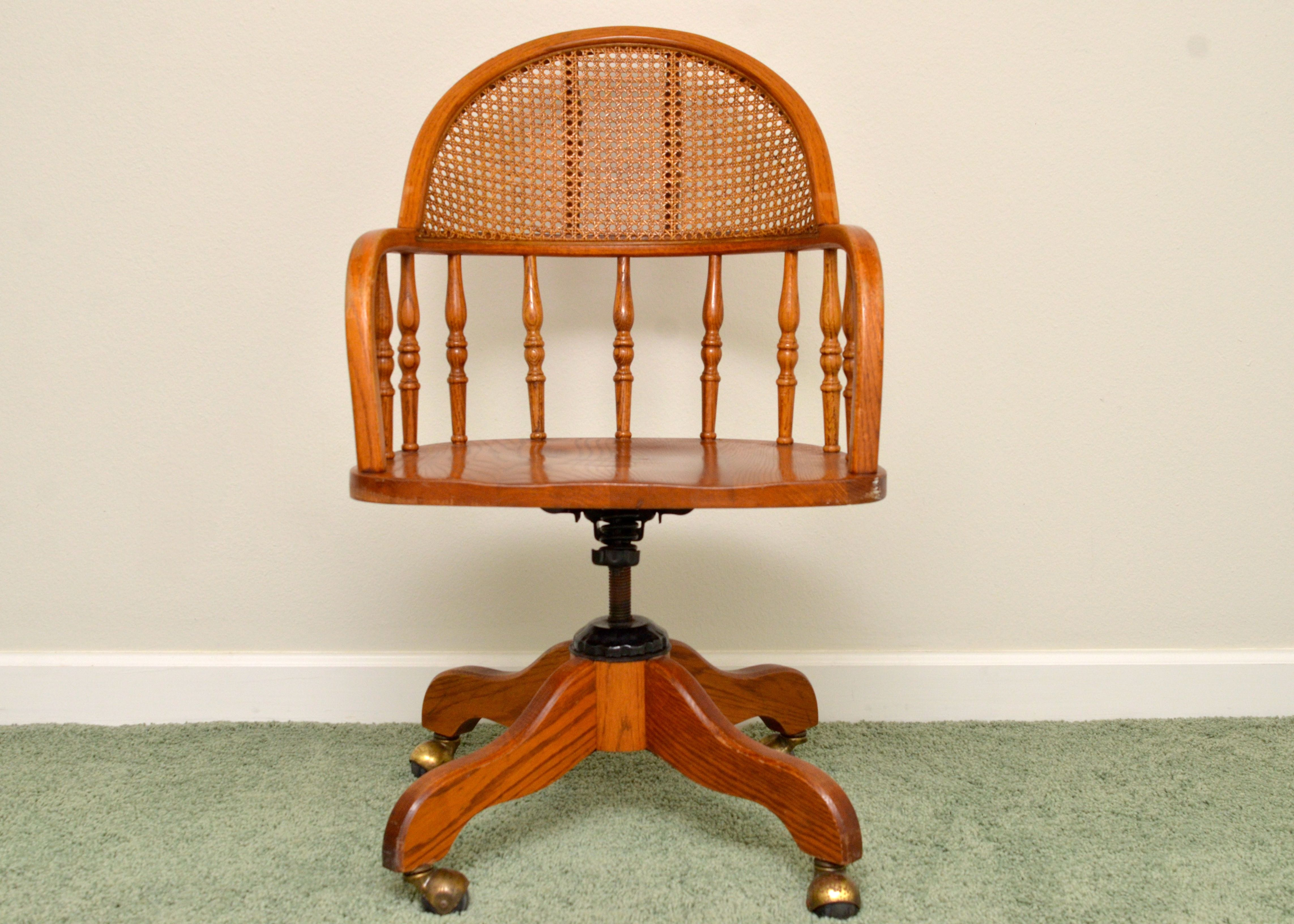 Solid Oak Swivel Desk Chair With Cane Back ...