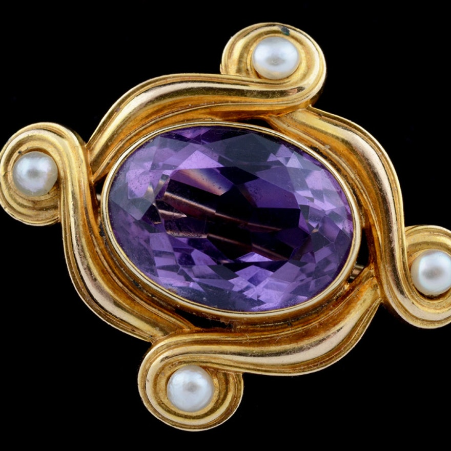 Art Nouveau 14K Gold Amethyst and Pearl Brooch