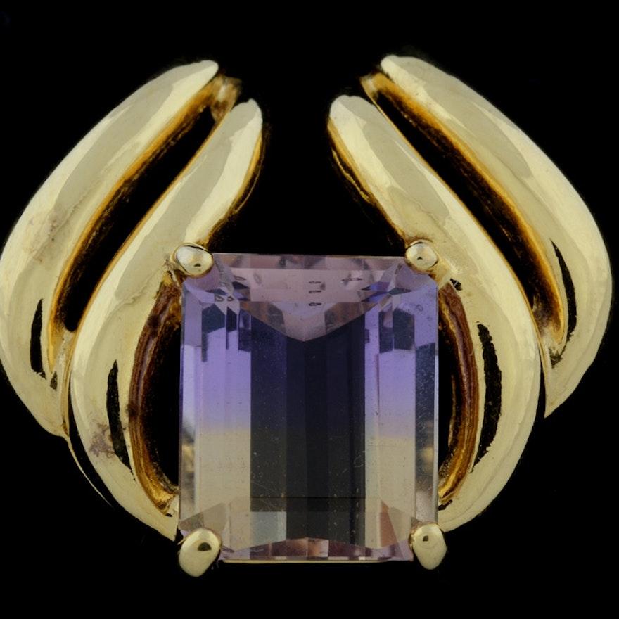 925 Gold Electroplated Ametrine Quartz Slide