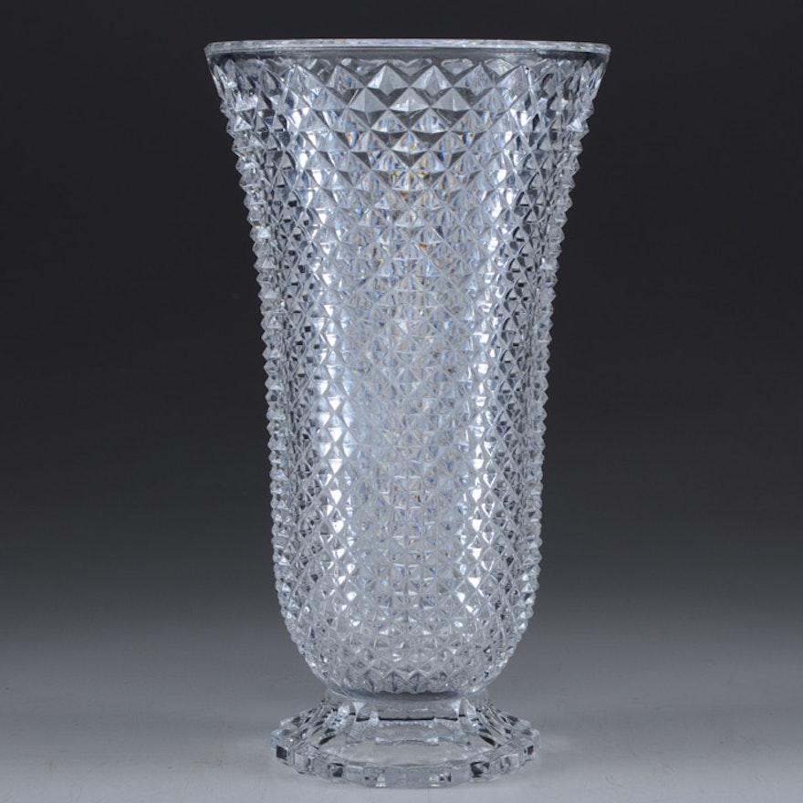 Pressed Glass Diamond Patterned Vase