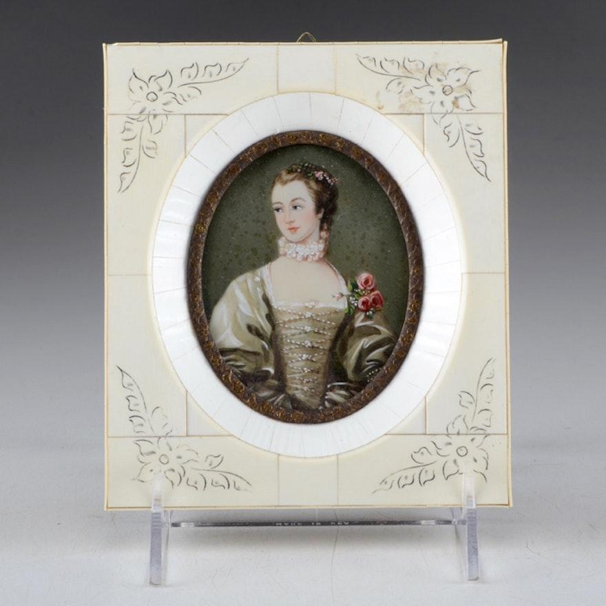 20th Century Hand Painted Portrait Miniature, Madame de Pompadour