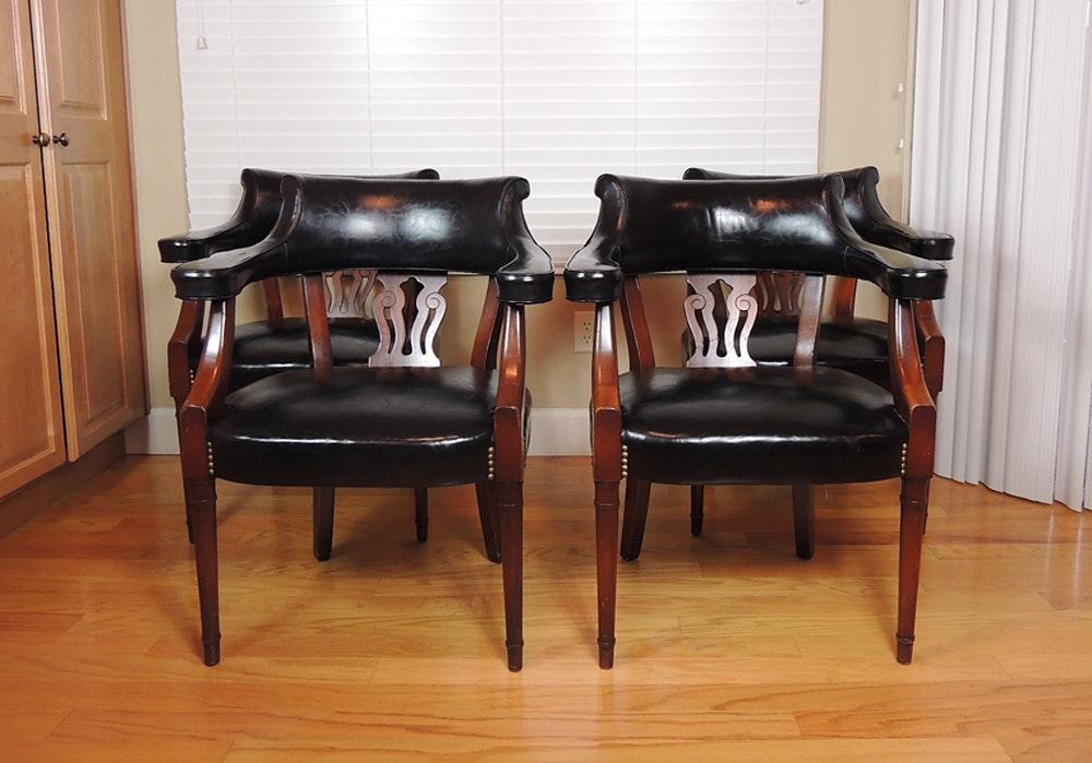 Vintage Hickory Black Barrel Chairs ...