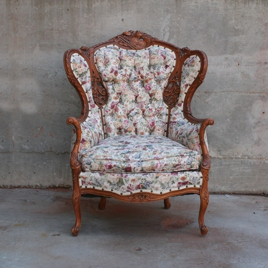 Antique Carved Wingback Chair ... - Antique Carved Wingback Chair : EBTH