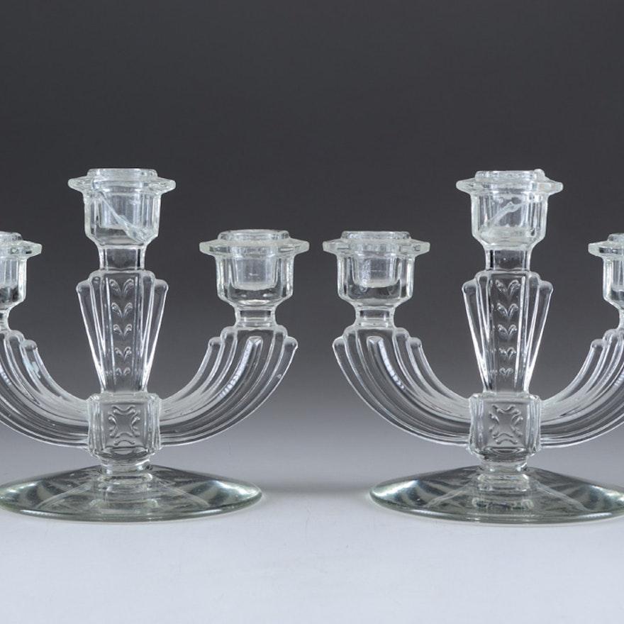 Pair of Vintage Pressed Glass Three-Light Candelabras