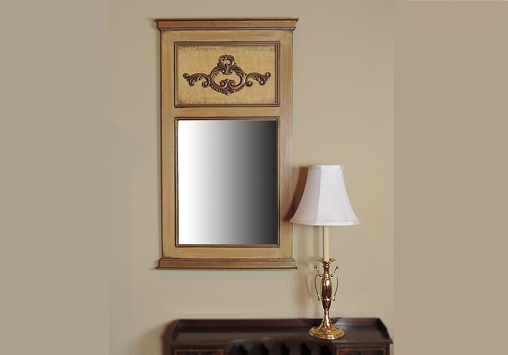 Trumeau Wall Mirror And Brass Table Lamp Ebth