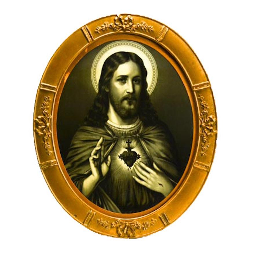 Antique Chromolithograph Icon of Jesus Christ