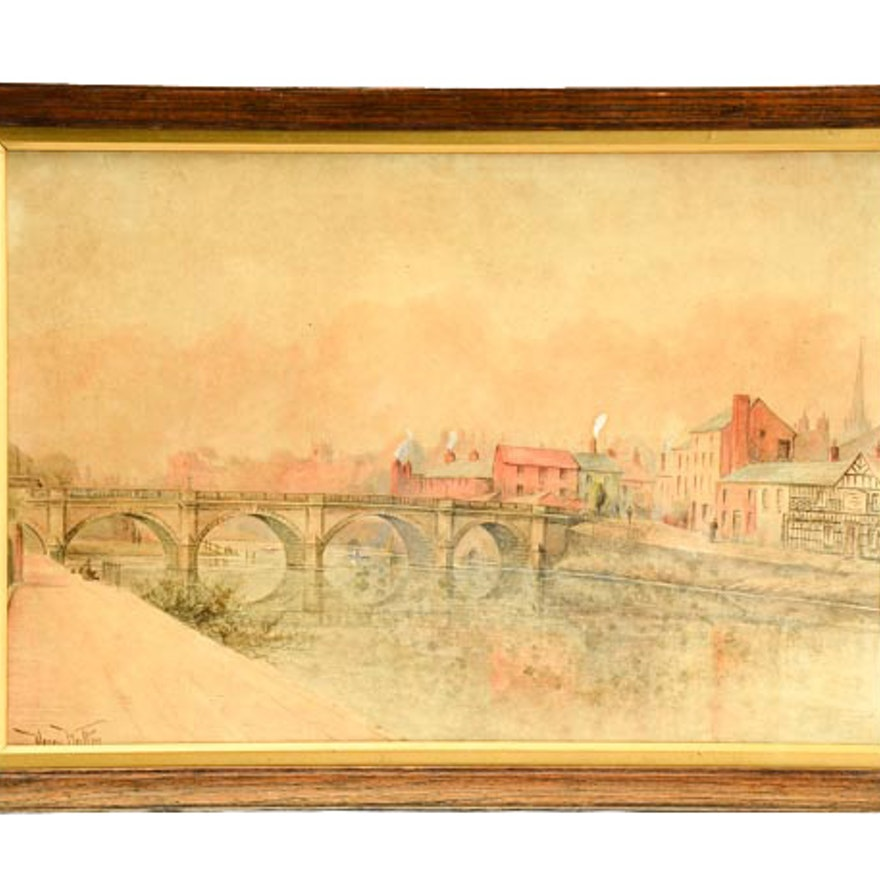 18th Century Henry Walton Watercolor of the River Thames
