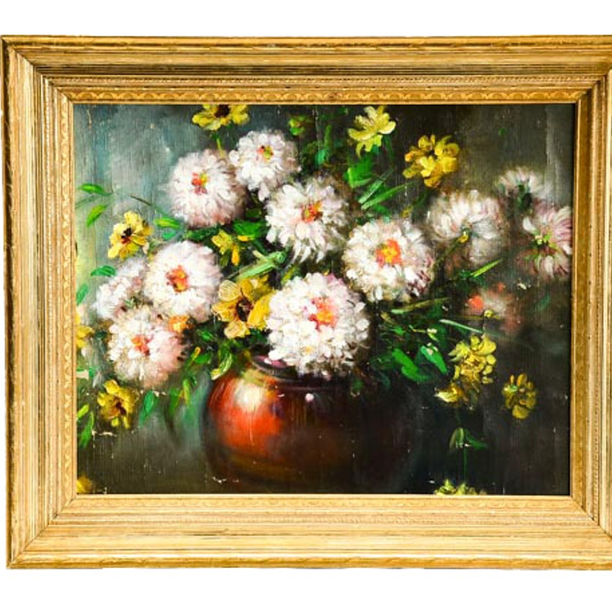Vintage Oil Painting on Canvas of Zinnias in Vase