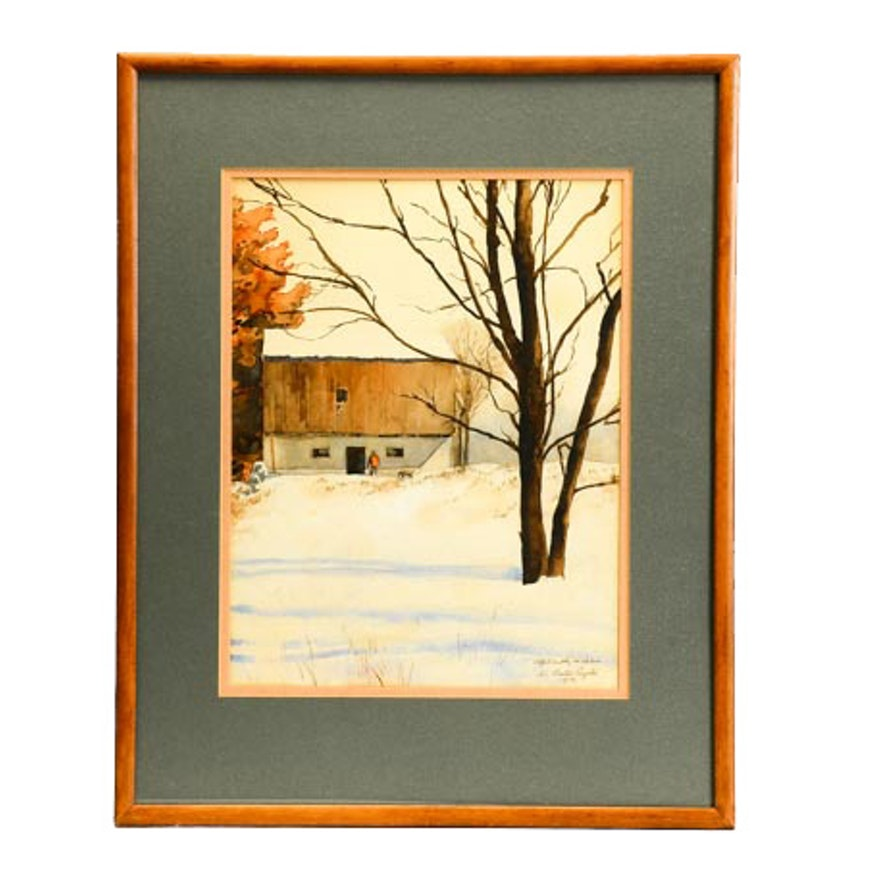 Vintage Watercolor Painting of Snowy Landscape with Barn