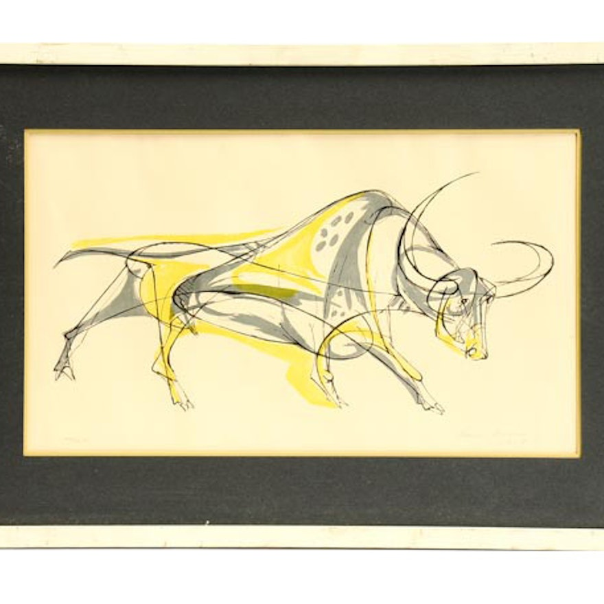 """Rare Limited Edition 1950 Walter Bodmer Woodblock """"Spotted Bull"""""""