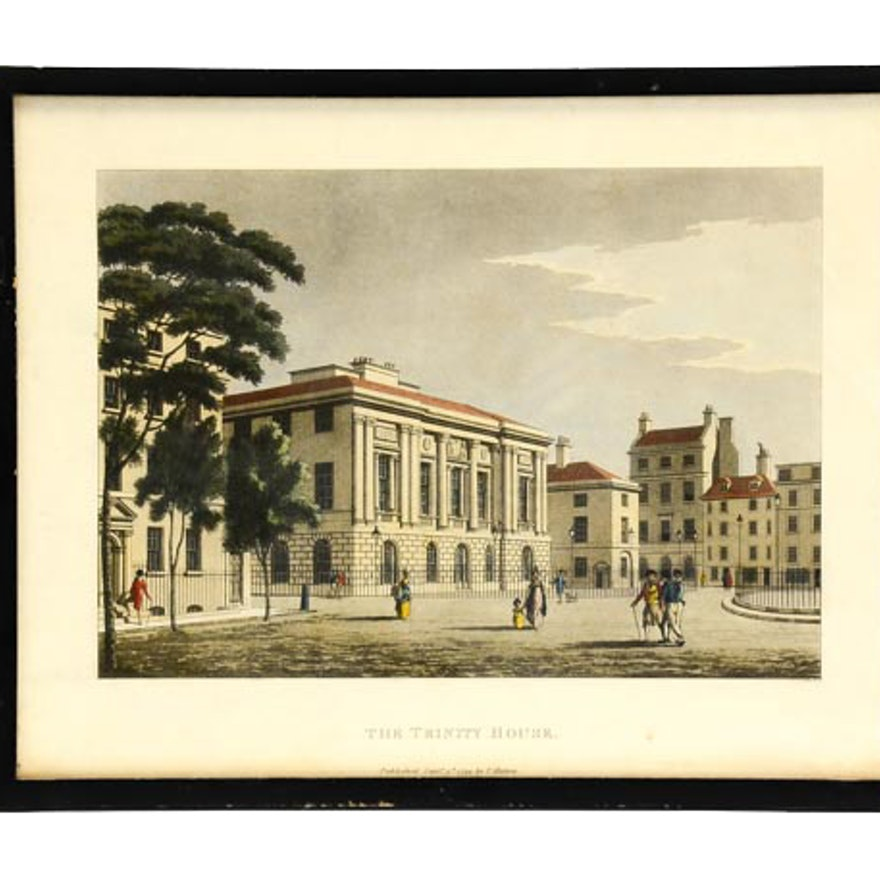 "1799 Thomas Malton Hand-Colored Aquatint ""The Trinity House"""