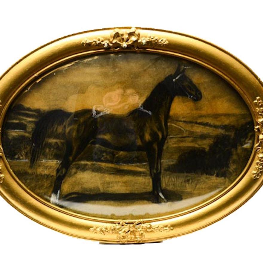 Original Saddlebred Horse Illustration in Antique Oval Frame