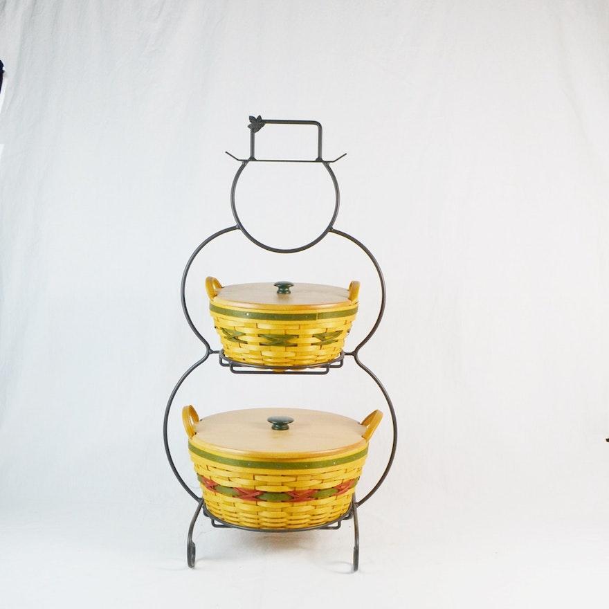Longaberger Snowman Basket Stand W/ Pinecone & Popcorn Baskets