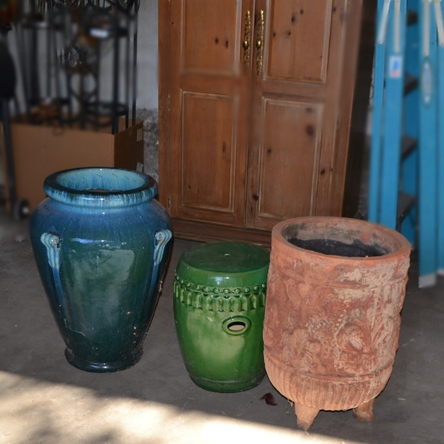 Large Pottery Oil Jar & Chinese Garden Stool From Pier 1 Imports