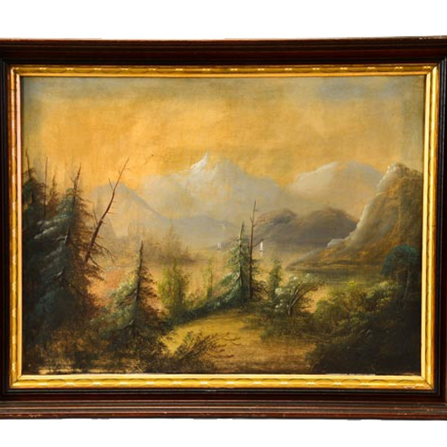 18th Century Hudson River Valley School Oil Painting