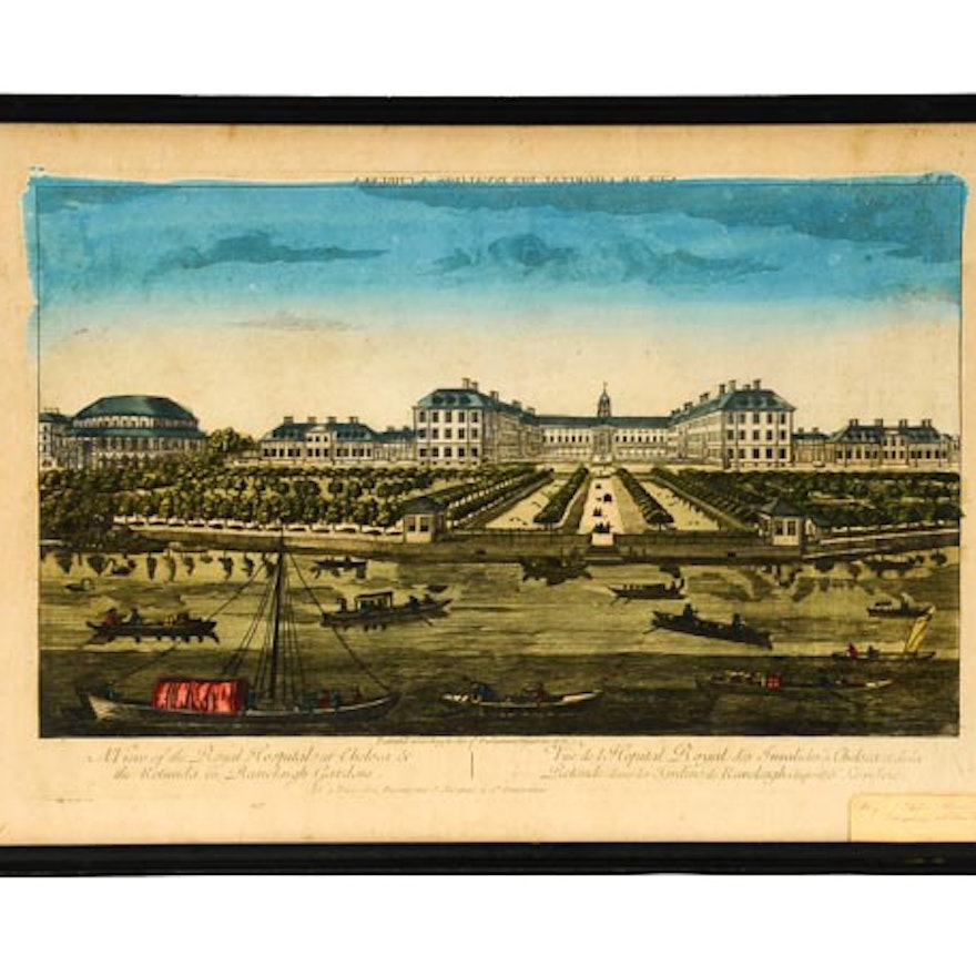"""Hand Colored Engraving """"View of the Royal Hospital"""""""