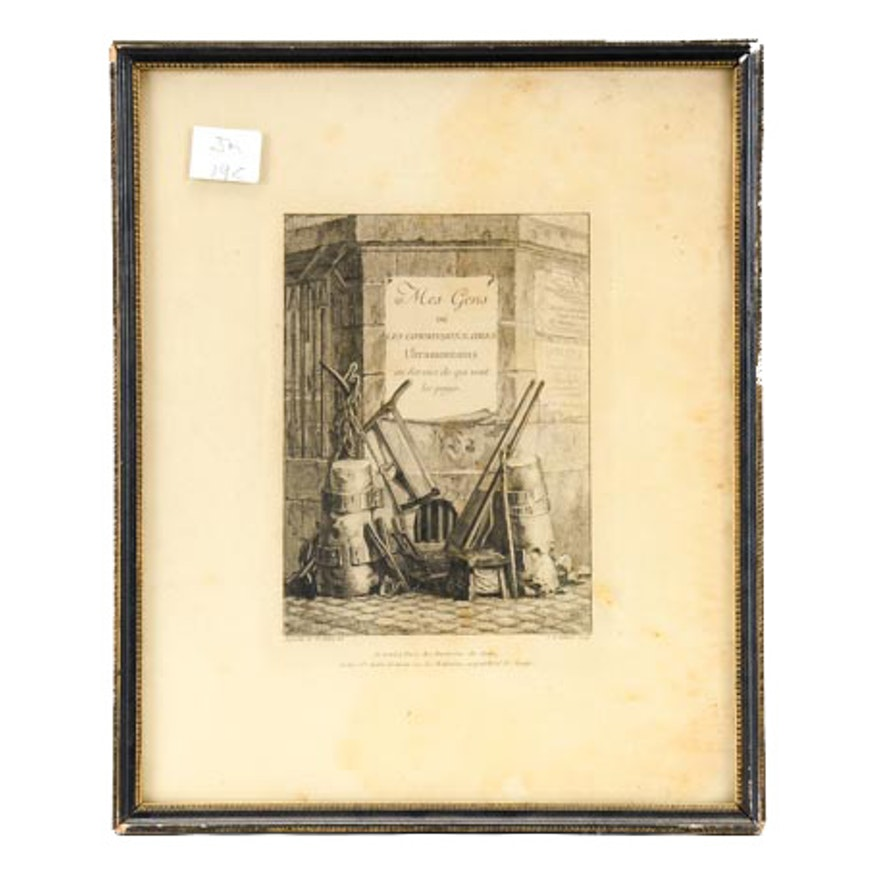 Late 18th Century Etching by JB Tillard after Saint-Aubin
