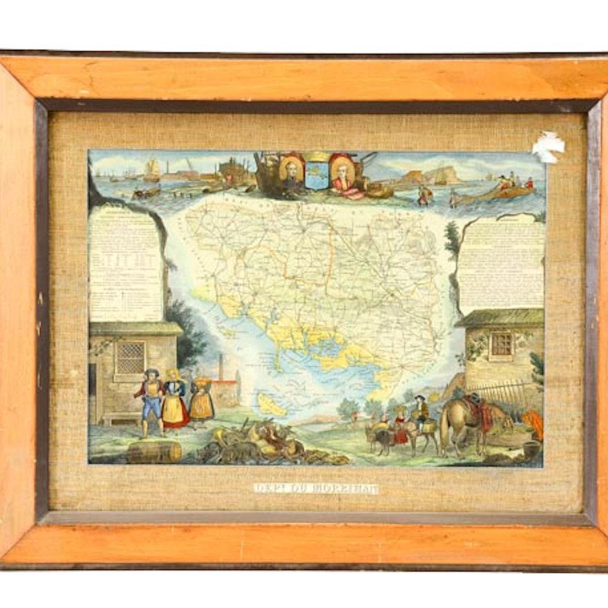 Hand Tinted Map of Morbihan
