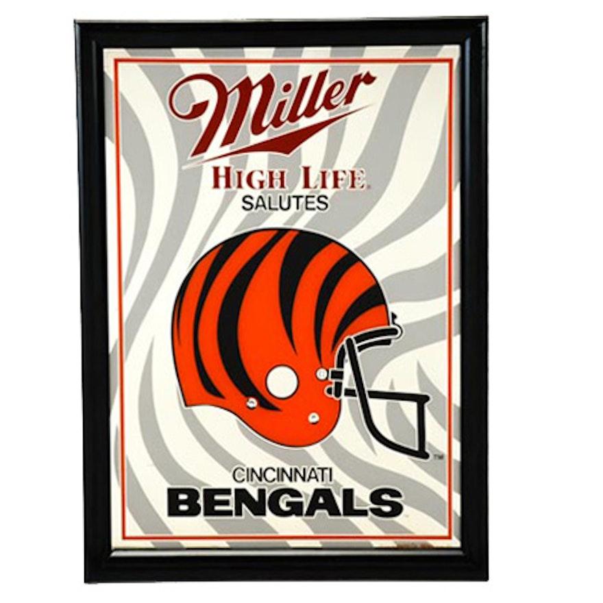 Bengals Miller High Lite Beer Mirror Sign