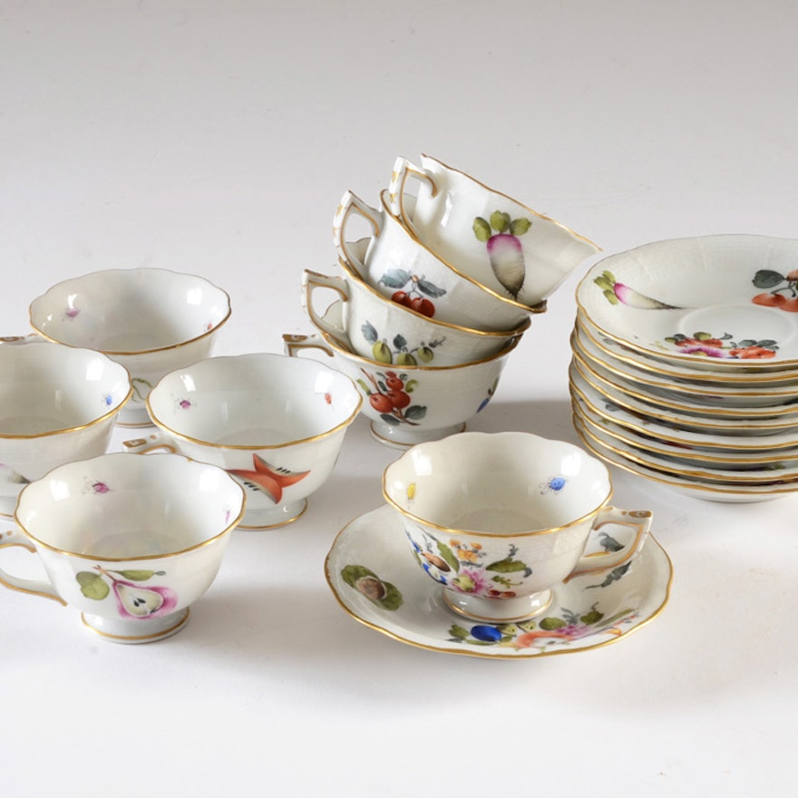 """Herend Hungary """"Fruits & Flowers"""" Demitasse Cups and Saucers"""