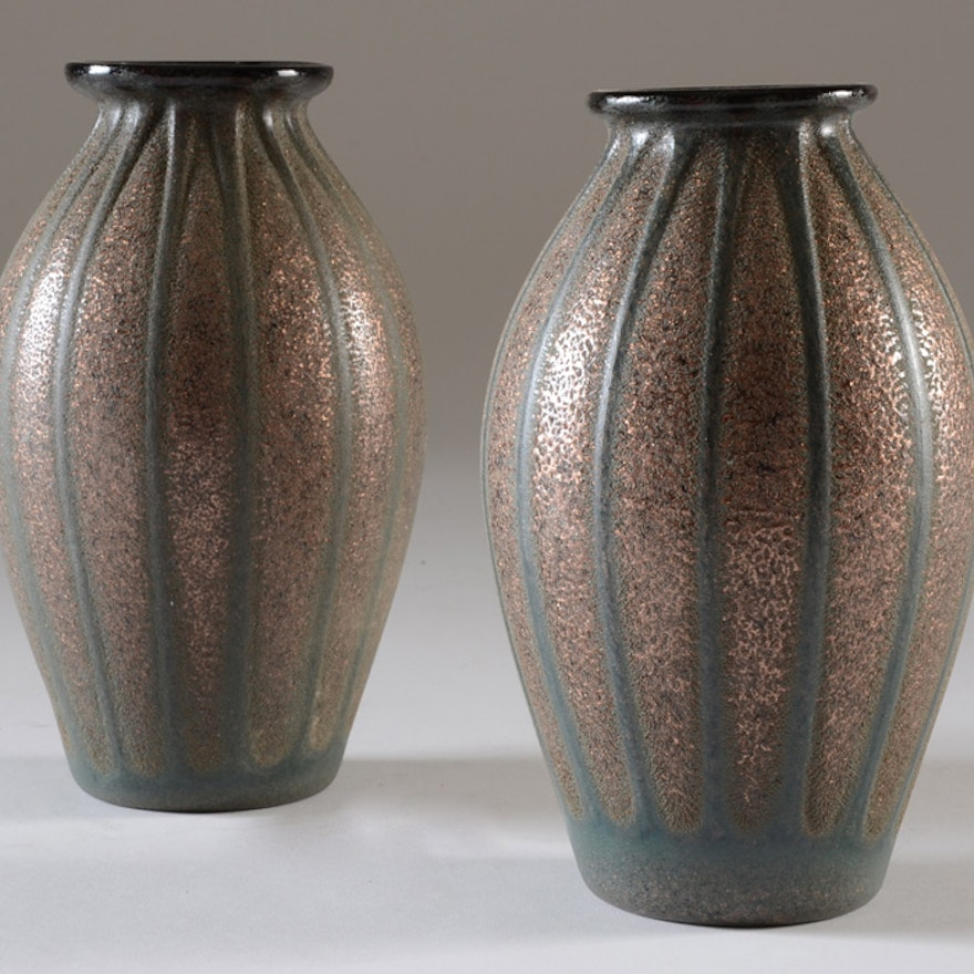 Pair of Copper-Gold and Green Vases
