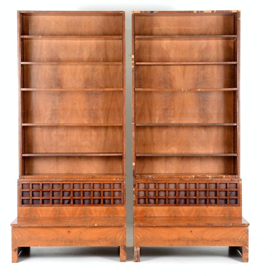 A Pair of Biedermeier Mahogany Bookcases