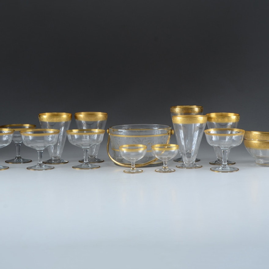 Fifteen Pieces of Gilt-Edged Glass Ware