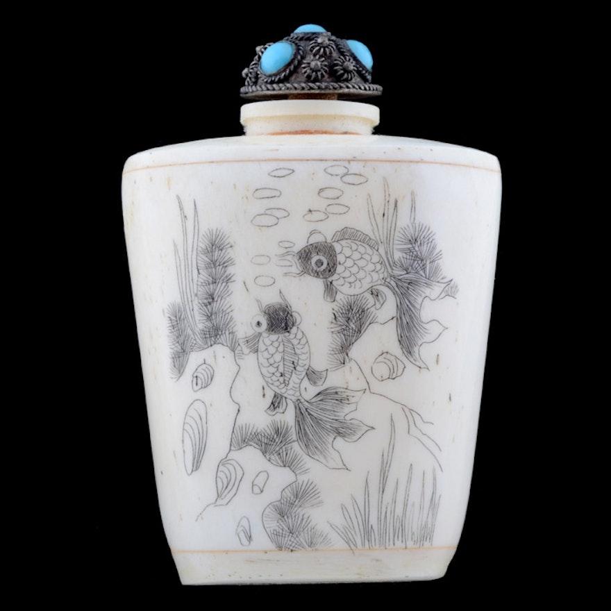 Japanese Erotic Scrimshaw Snuff Bottle